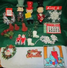 Vintage Christmas Decorations 18 mixed pieces 3 Noel Carolers wreath,bells LQQK!