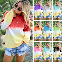 Women Long Sleeve Gradient Plus Tops Casual Tee Shirt Blouse Pullover Sweatshirt