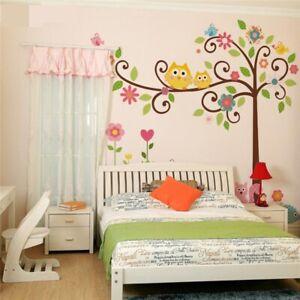Yellow girls boys flowers Owl Tree Animals Wall Sticker Nursery Kids Room Decal