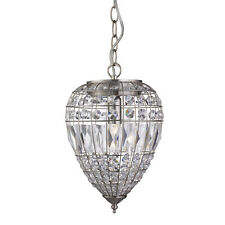 Satin Silver Ceiling Pendant Light Fitting Lighting With Crystal Glass Buttons