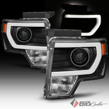 For 09-14 F150 Black Housing Light-Tube-DRL Projector Headlights