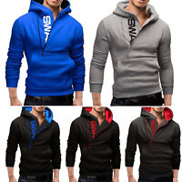 Mens Zip-Up Hoodie Winter Warm Hooded Jacket Fashion Pullover Sweater Tops Coat