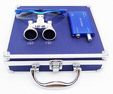 Dental Surgical 3.5X420mm Binocular Loupes+LED Head Light+Aluminum Box Blue