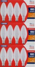 12Pk 60W SES E14 Classic Clear Candle Light Bulbs, Small Screw, dimmable 240v