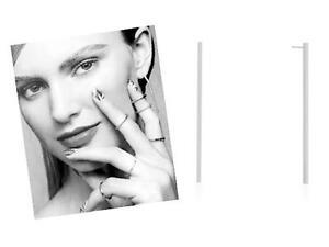 """Minimalist Layering Jewelry"" Long Thin Geometric S/S Silver Stick Post Earrings"