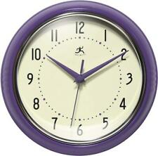 Infinity Instruments Wall Clock, Glass Lens, Second Hand, Silent - Purple