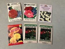 Six Vintage Flower Seeds Packets Burpee, American Seed and Mother's Back Yard