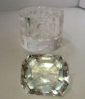 Crystal Oleg Cassini Bubble Pillar Votive Candle Holder and Diamond Signed