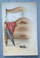 unusual old erotic suggestive watercolor artwork signed H Clark 1884