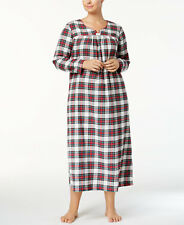 Charter Club 2X Cotton White Red Plaid Print Flannel Warm Nightgown Long Length