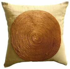 Handmade Pillow Cover 20x20 inch Gold, Art Silk Nature Floral - Crowning Glory