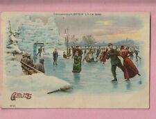 Greetings, Gruss Aus, Ice skating, Transparencies, Hold to light  Postcard.