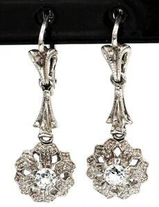 Cubic Zirconia CZ Drop Earrings 18ct White Gold Fine Jewellery Pierced Ears