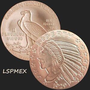 Incuse Indian 2 oz .999 Copper Round American USA Made Commemorative BU Coin