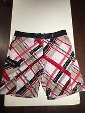 MAUI & SONS Mens Sz 40 White Black Gray Red Print Swim Trunks Board Shorts EXC