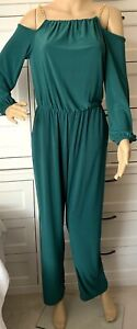 NY COLLECTION Cold Shoulder Jumpsuit Size PM Emerald Green Pockets Retail $65
