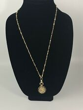 Vintage Sheffield Pendant Watch Black And Gold With Chain- 25.5""