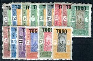 TOGO 1921 Yvert 101-115,117-118 ** POSTFRISCH 17 Werte ohne 116 (F4135