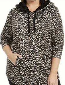 Ideology Women's Cozy Comfy Leopard Print Hoodie