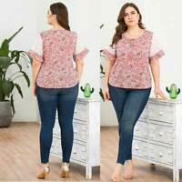 Plus Size Summer Womens Casual  T-Shirt Tops Short Sleeve V-Neck Blouse Floral