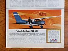 1968 Cessna Airplane Ad Fastback Hardtop Corvette