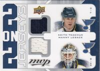 KEITH TKACHUK-LEGACE-NASH-LECLAIRE JERSEY 2 ON 2 three colors in UD MVP 2008-09a