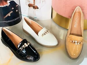 New Womens Ladies Flat Casual Office Work Pump Shinny Slip On Loafers Shoes size
