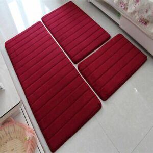 3Pcs Modern Floor Anti Slip Rugs For Bathroom Toilet Memory Foam Mat Set Carpet