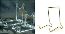 2 Part Perspex/Brass Display Stand Books, Phones, CD, Plates Crystals Fossils Uk