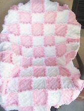 SWEET BABY GIRL RAG QUILT/Crib blanket/ rag quilt/ baby shower gift/white/pink