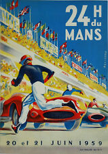 Reproduction Motor Racing Poster, Le Mans 24 Hour 1959, Wall Art