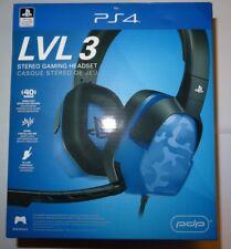 PDP Sony PS4 Afterglow LVL 3 Azul Camo Gaming Headset Nuevo Modelo