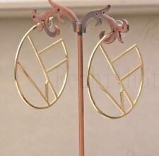 "18K Gold Filled 2"" Earring Irregularity Circle Dangle Unique Ear Stud Bohemia DS"