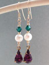 Vintage Bezel Teardrop, Crystals & FW Pearls - Suffragette 14ct RG Earrings
