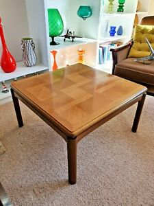 Large Retro Solid Oak Coffee  Lamp Occasional Table With Parquetry Top