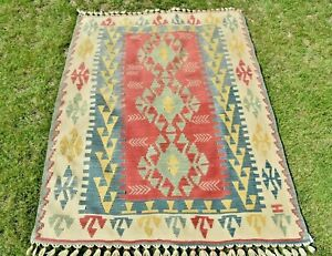 Turkish Oushak Cappadocia Kilim Anatolia Ethnic Handmade Weave Wool Carpet 4x6ft
