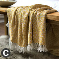 Luxury 100% Cotton ECO Mustard Yellow Ochre Sofa Bed Chair Throw Blanket Fringed