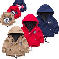 Kinder Jungen Mädchen Mickey Maus Mantel Jacke Kapuzen Sweatjacke Winterjacke