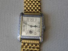 SERVICED ...1920`S BULOVA  ART DECO  2 TONE ETCHED...NEW BAND / NEW CRYSTAL