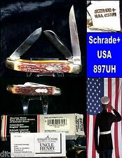 Schrade Uncle Henry Knife 897UH Stag App. Handles W/Box Paperwork Nice Set Rare