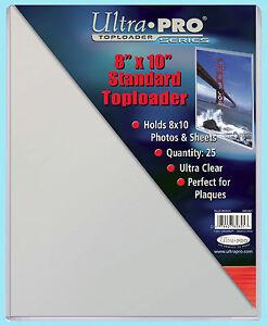"25 Ultra Pro 8""x10"" Standard TOPLOADERS NEW Memorabilia Photo Collectible Plaque"