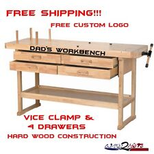 Hardwood Garage Workbench Work Table Clamp Vice Storage Drawer similar Gladiator