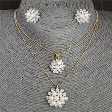 18K Rose Gold Plated Crystal Pendant Necklace Drop Earrings Stud Jewelry Set