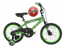 "16"" Kids Bicycle for Boys Girls with Training Wheels Coaster Hand Brake Green"