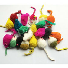 Natural Colorful Rabbit Fur False Mice Cat Toys play fun toys in lots of 10pcs