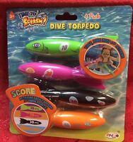 4pk DIVE TORPEDO ~ Rocket Pool Toys Bright Colors - Kids Summer Fun Game