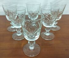 """Brodegaard LORRAINE Clear Cut Mid Century Glass 4 5/8"""" WINE GOBLETS Set of 6"""