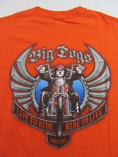 """BIG DOGS """"Live To Ride, Ride To Live"""" Motorcycle Orange SS T Shirt Size L"""