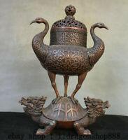 """16"""" Ancien Chine Rouge Cuivre Double Grue Oiseaux Dragon Tortue Zun Encensoir"""
