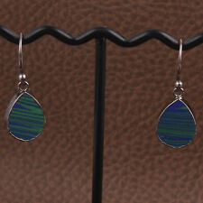 Green Blue Azurite In Malachite Black Rhodium Plated Handmade Drop Earrings